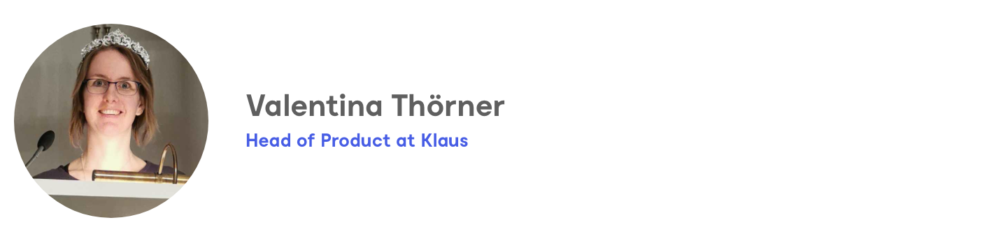 Valentina Thörner, Head of Product at Klaus